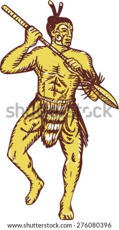 Etching engraving handmade style illustration of a Maori chief warrior holding a taiaha with tattoos performing war dance and in fighting stance viewed from front set on isolated white background.  - stock vector