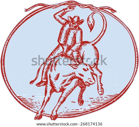 Etching engraving handmade style illustration of rodeo cowboy riding bucking bull set inside a circle shaped rope tied on top on isolated background. - stock vector