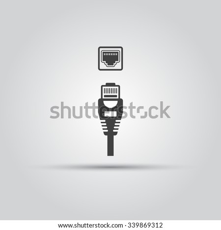 Ethernet cable and port isolated vector black icon, network socket icon, ethernet connector icon - stock vector