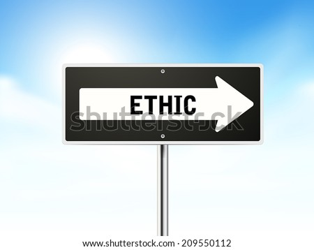 ethic on black road sign isolated over sky
