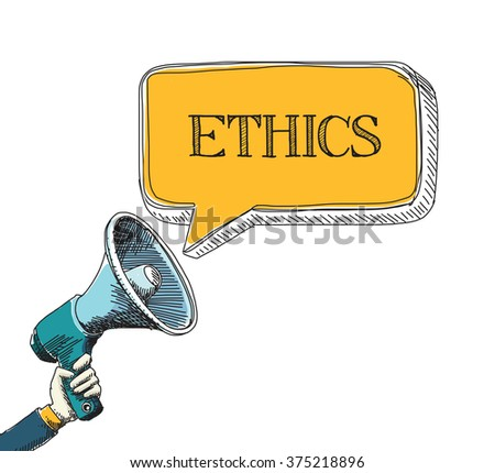 ETHICS word in speech bubble with sketch drawing style - stock vector
