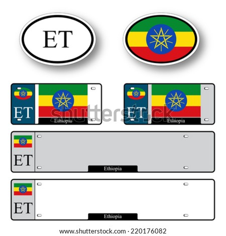 ethiopia auto set against white background, abstract vector art illustration, image contains transparency - stock vector