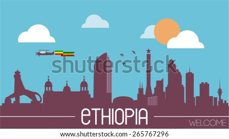Ethiopia city skyline silhouette flat design vector illustration - stock vector