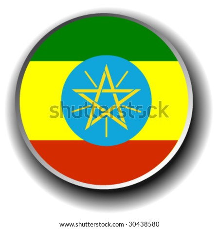 ethiopia flag icon - vector button - stock vector