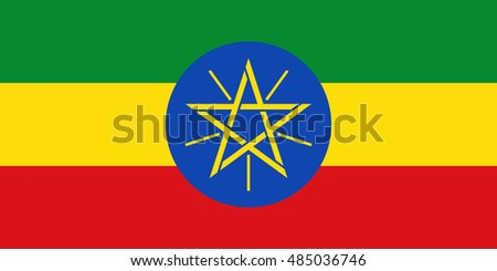 Ethiopia flag in official colors and Proportion Correctly