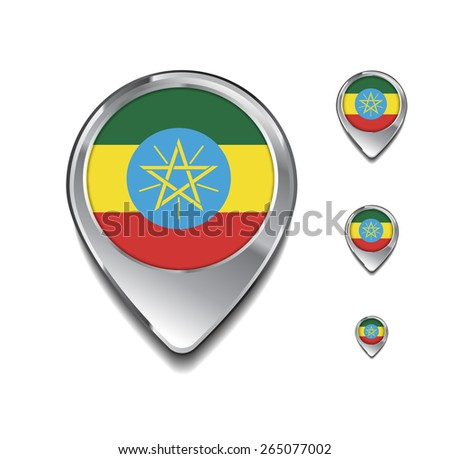 Ethiopia flag map pointer. 3d Map Pointer with flag glossy button style on gray background - stock vector