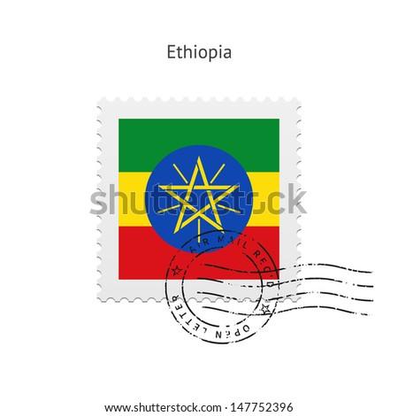 Ethiopia Flag Postage Stamp on white background. Vector illustration. - stock vector