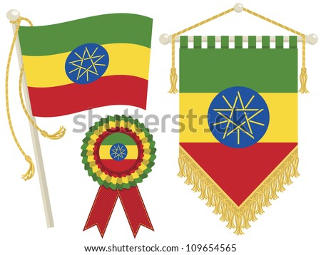 ethiopia flag, rosette and pennant, isolated on white