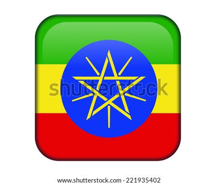 Ethiopia glossy rectangle button