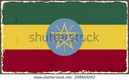 Ethiopia grunge flag. Vector illustration. Grunge effect can be cleaned easily. - stock vector