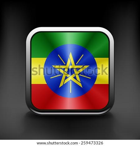Ethiopia icon flag national travel icon country symbol button. - stock vector