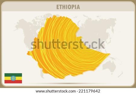ETHIOPIA map graphic design, Vector. - stock vector