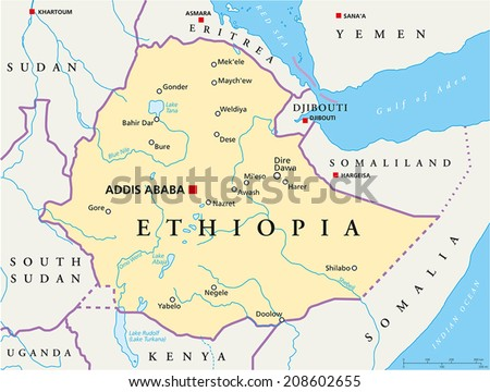Ethiopia political map political map ethiopia stock vector 2018 ethiopia political map political map of ethiopia with capital addis ababa national borders gumiabroncs Images