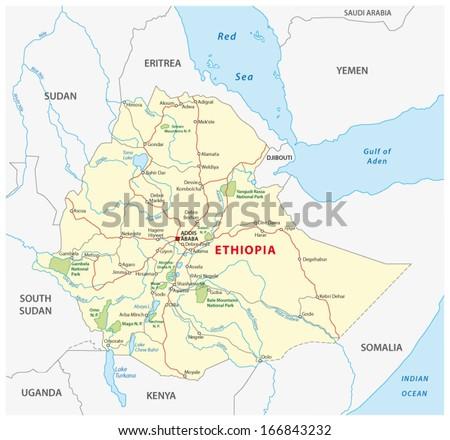 ethiopia road map - stock vector