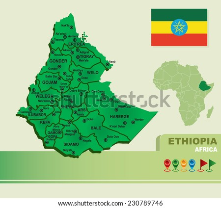 ethiopia vector map & flag - stock vector