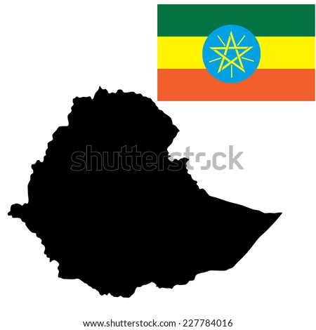 Ethiopia vector map high detailed silhouette illustration isolated on white background. Flag of Ethiopia. Vector illustration. - stock vector