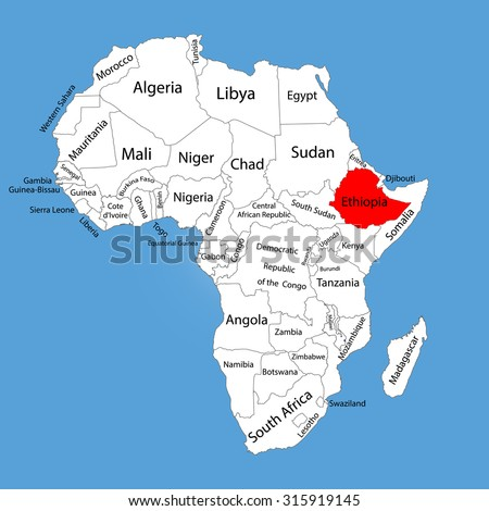 Ethiopia vector map silhouette isolated on stock vector royalty ethiopia vector map silhouette isolated on africa map editable vector map of africa gumiabroncs Images