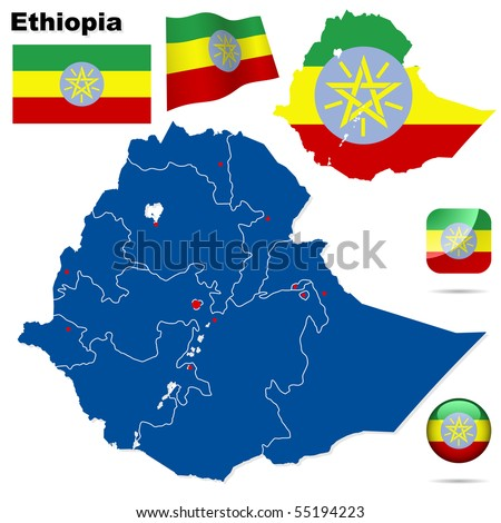 Ethiopia vector set. Detailed country shape with region borders, flags and icons isolated on white background. - stock vector