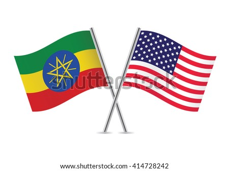 Ethiopian and American flags. Vector illustration. - stock vector