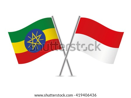 Ethiopian and Indonesian flags. Vector illustration. - stock vector