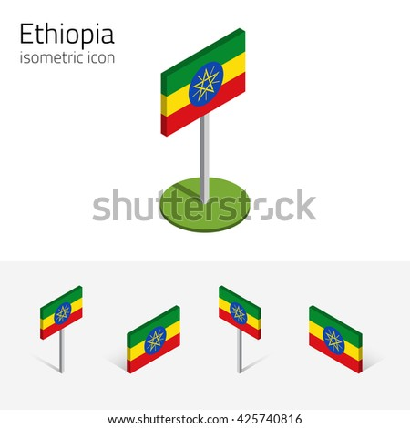 Ethiopian flag (Federal Democratic Republic of Ethiopia), vector set of isometric flat icons, 3D style. African country flags. Editable design elements for banner, website, infographic, map. Eps 10 - stock vector