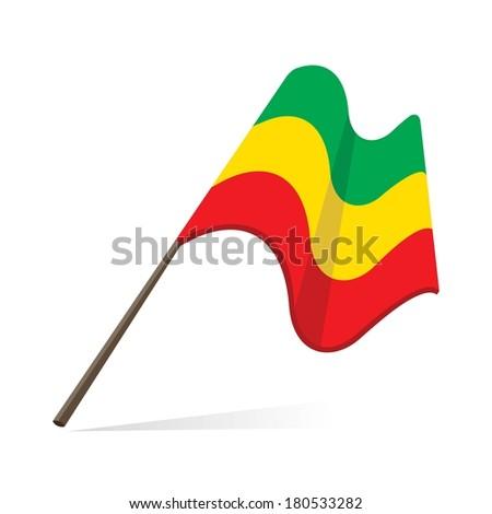 ethiopian flag, flag of federal democratic republic of ethiopia - stock vector