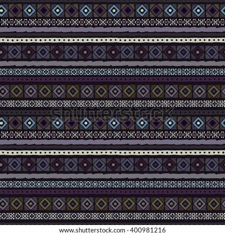 Ethnic abstract seamless pattern. Tribal art boho print, border ornament. Background texture, decoration