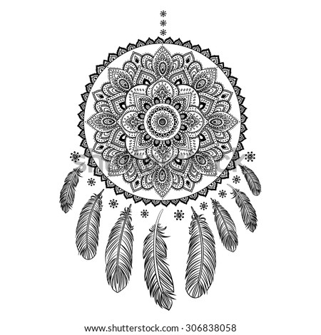 Ethnic american indian dream catcher can stock vector 306838058 ethnic american indian dream catcher can be used as a greeting card m4hsunfo