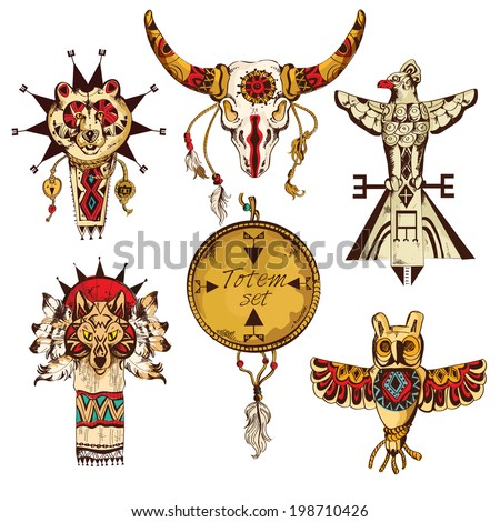 Ethnic american tribes animal totems colored sketch decorative elements set isolated vector illustration - stock vector