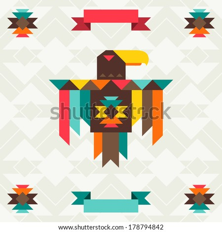 Ethnic background with eagle in navajo design. - stock vector