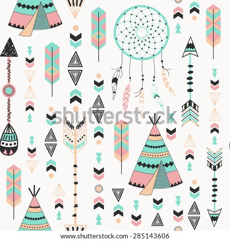 Ethnic background with feathers, teepees, floral and tribal. Used for wallpaper, pattern fills, web page background, surface textures. - stock vector
