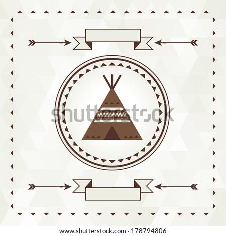 Ethnic background with wigwam in navajo design. - stock vector