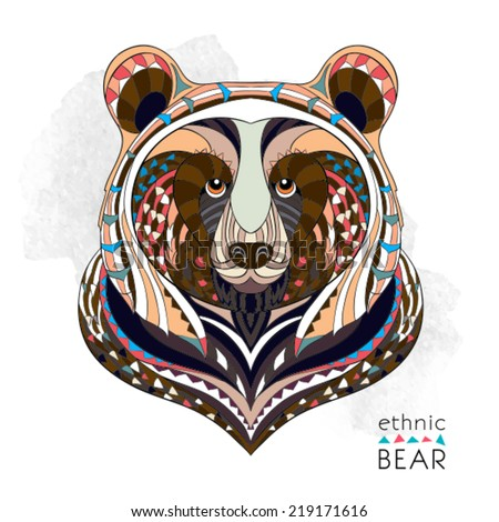 Ethnic bear / african / indian / totem - stock vector