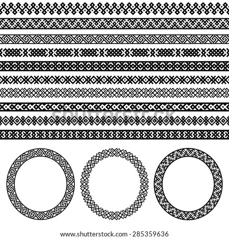 Ethnic borders and round frames set collection.  Decoration element patterns in black and white colors. Vector illustrations. - stock vector