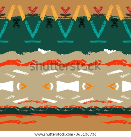 Ethnic brushsrokes seamless pattern. Hand painted. Plaid design. Vector texture.