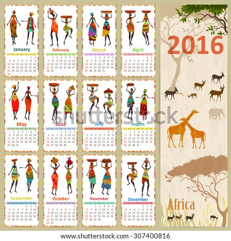 Ethnic Calendar for 2016 with beautiful African women. Vintage card with nature landscape. - stock vector