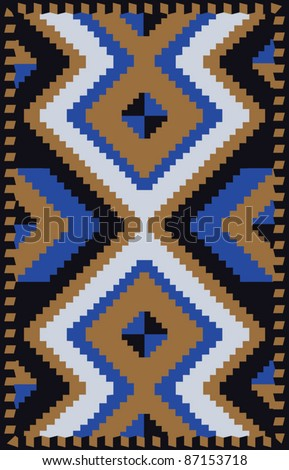 Ethnic carpet design with geometric motif - stock vector