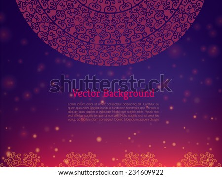 Ethnic & Colorful Henna Mandala design, on festive and glitter bokeh background - stock vector