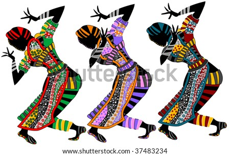ethnic dance of religious people on a white background - stock vector