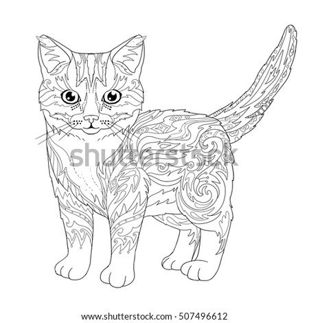 Ethnic Decorative Doodle Cat Coloring Book Page With Kitten For Adults Vector Illustration
