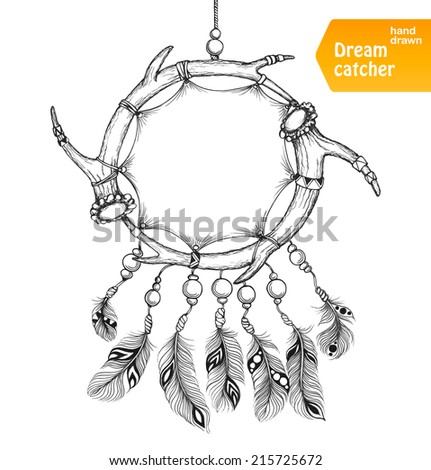 Ethnic dream catcher from two elks horns with feathers. American Indian style. Isolated on white background. Vector illustration. - stock vector