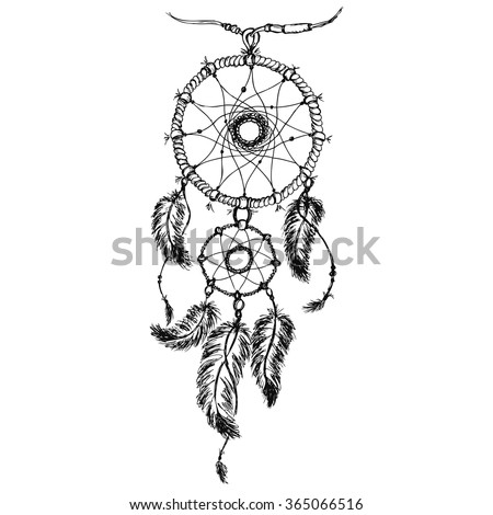 Ethnic dream catcher with feathers. American Indian style. Isolated on white background. Vector illustration