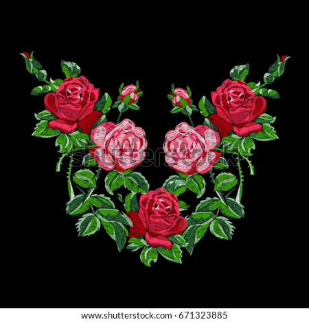 Ethnic Embroidery Red Roses Buds Floral Stock Vector 671323885 ... on garden dress forms, country garden designs, garden edging designs, garden home designs, garden wedding designs, garden fabric, garden box designs, garden art designs, garden cake designs, garden motif design, garden surface pattern designs, garden window designs, garden flowers designs, garden needlepoint designs,