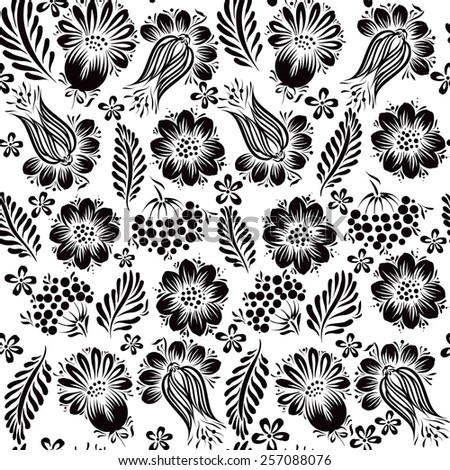 Ethnic floral seamless pattern.Black and white - stock vector