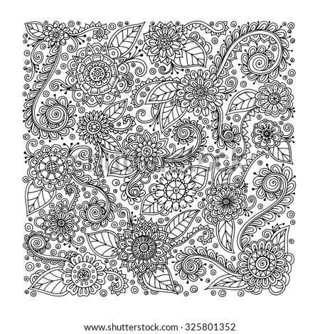 Ethnic floral zentangle, doodle background pattern in vector. Henna paisley mehndi doodles design tribal design element. Rectangle format. Black and white pattern for coloring book. - stock vector