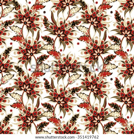 ethnic flowers seamless vector pattern. floral vintage background