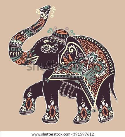 ethnic folk art indian elephant, vector dot painting illustration  - stock vector