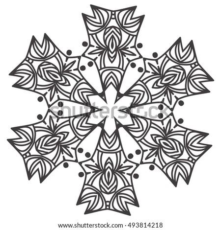 Ethnic Fractal Mandala Floral Doodle Pattern Stock Photo (Photo ...
