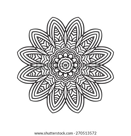 Ethnic Fractal Mandala. Vector Circle Meditation Tattoo  - stock vector