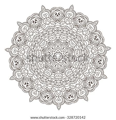 Ethnic Fractal Mandala Vector Meditation looks like Snowflake or Maya Aztec Pattern or Flower Isolated on White - stock vector